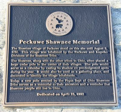 Peckuwe Shawnee Memorial Marker Photo, Click for full size