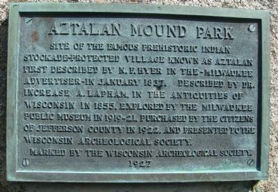Aztalan Mound Park Marker Photo, Click for full size