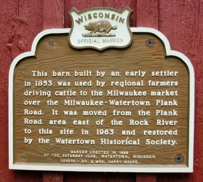 Plank Road Pioneer Barn Marker image. Click for full size.