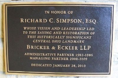 Richard C. Simpson Dedication Marker image. Click for full size.