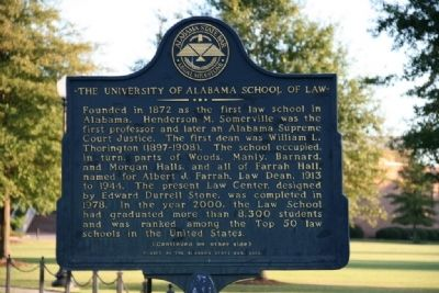The University of Alabama School of Law Marker Side A image. Click for full size.