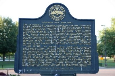 The University of Alabama School of Law Marker Side B image. Click for full size.