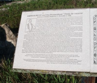 Left - Text Section - - Father Petit and the Potawatomi 'Trail of Death' Marker image. Click for full size.
