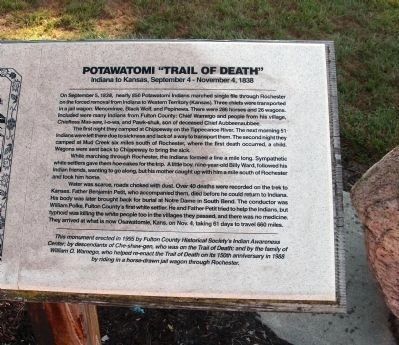 "Right - Text Section - - Potawatomi ""Trail of Death"" Marker Photo, Click for full size"