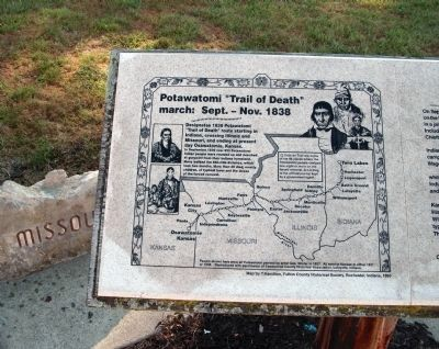 "Left - Map Section - - Potawatomi ""Trail of Death"" Marker Photo, Click for full size"