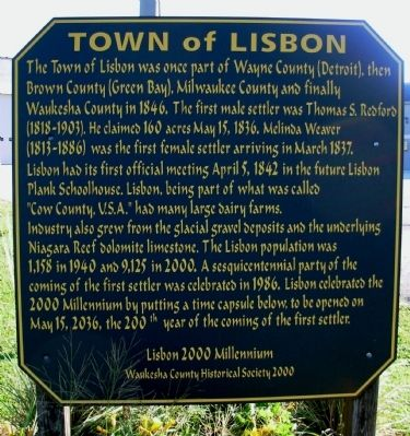 Town of Lisbon Marker image. Click for full size.