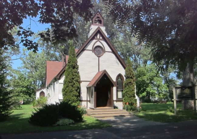St. Andrew By-The-Lake Anglican Church and Marker - Wide View image. Click for full size.
