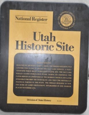 Utah State Historical Society Herald Building Marker image. Click for full size.