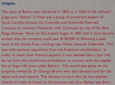 Historic Belton Marker - Origins image. Click for full size.