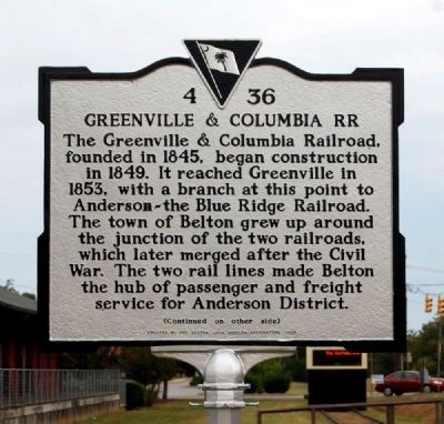 Greenville & Columbia RR Marker image. Click for full size.