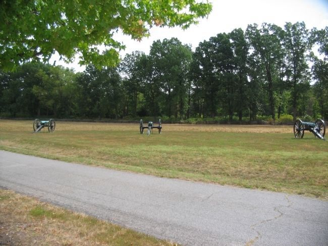 Federal Artillery in front of Morgan's Woods image. Click for full size.