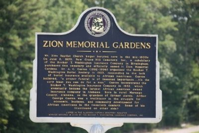 Zion Memorial Gardens Marker Side A image. Click for full size.
