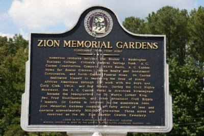 Zion Memorial Gardens Marker Side B image. Click for full size.