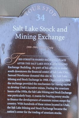 Salt Lake Stock and Mining Exchange Marker image. Click for full size.