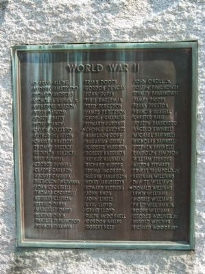 World War II Plaque on the Back of the Stone image. Click for full size.