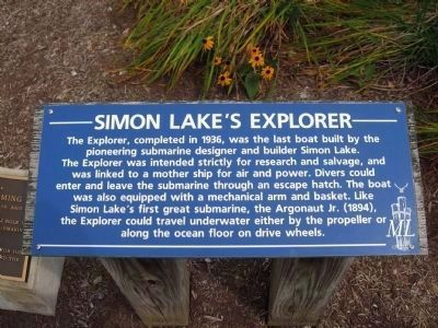 Simon Lake's Explorer Submarine Marker image. Click for full size.