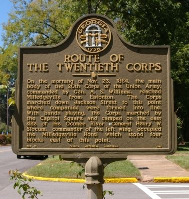 Route of the Twentieth Corps Marker image. Click for full size.