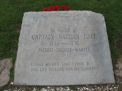 In Honor of Captain Nathan Hale Marker image. Click for full size.