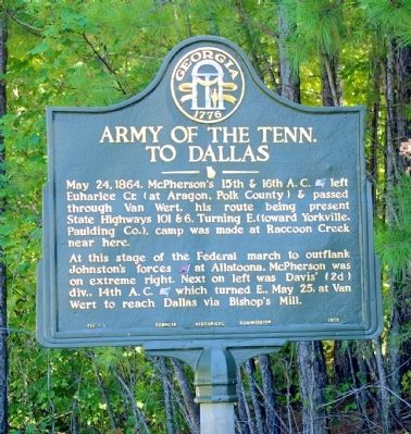 Army of the Tenn. To Dallas Marker image. Click for full size.