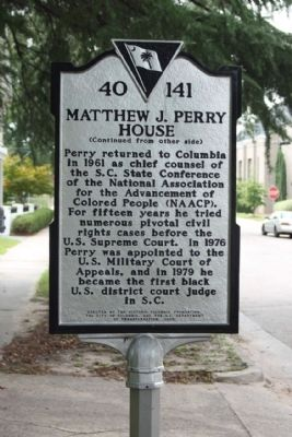 Matthew J. Perry House Marker, reverse side image. Click for full size.