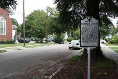 Matthew J. Perry House Marker, looking east along Washington Street image. Click for full size.