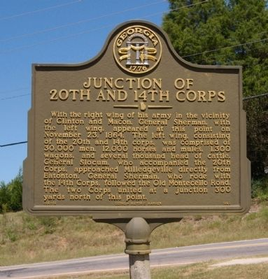 Junction of 20th and 14th Corps Marker image. Click for full size.
