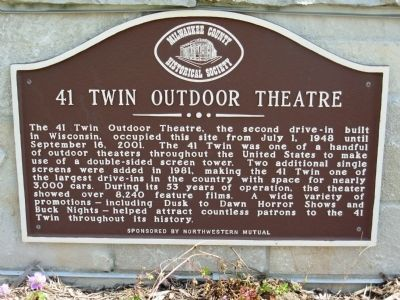 41 Twin Outdoor Theatre Marker image. Click for full size.