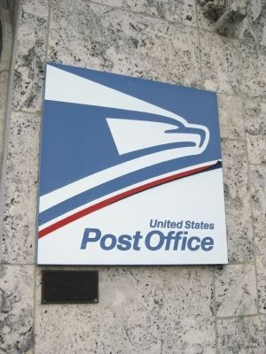 United States Post Office Sign and NRHP Plaque image. Click for full size.