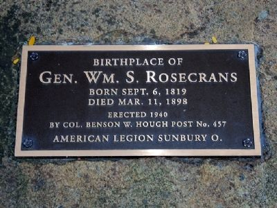 Birthplace of Gen. Wm. S. Rosecrans Marker image. Click for full size.