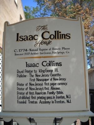 The Isaac Collins House Marker image. Click for full size.