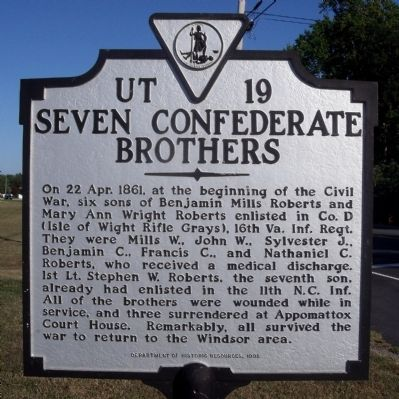 Seven Confederate Brothers Marker image. Click for full size.