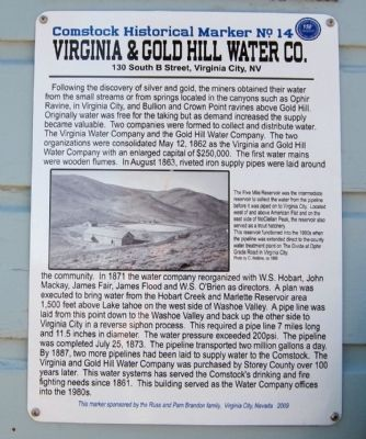 Virginia & Gold Hill Water Company Marker image. Click for full size.