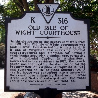 Old Isle of Wight Courthouse Marker image. Click for full size.
