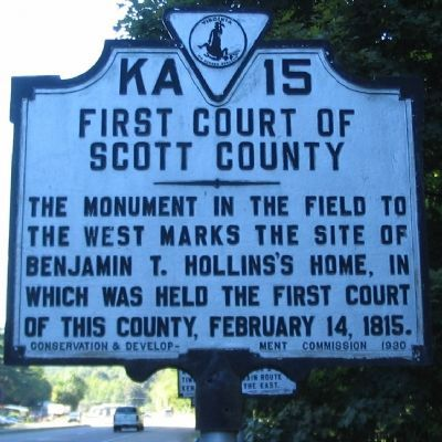 First Court of Scott County Marker image. Click for full size.