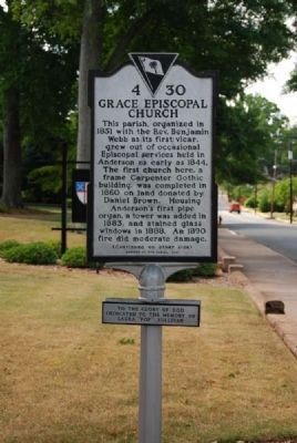 Grace Episcopal Church Marker -<br>Front image. Click for full size.