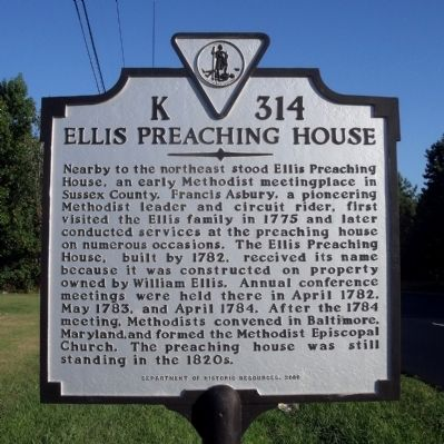 Ellis Preaching House Marker image. Click for full size.