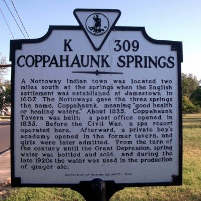 Coppahaunk Springs Marker image. Click for full size.