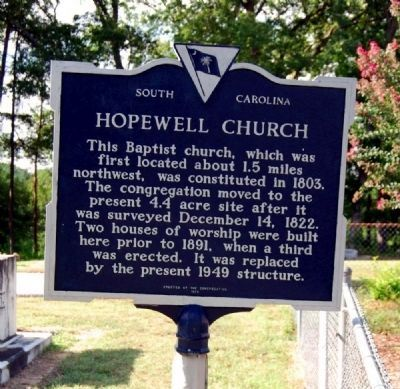Hopewell Church Marker image. Click for full size.