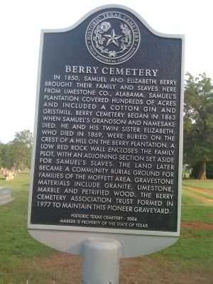 Berry Cemetery Marker image. Click for full size.