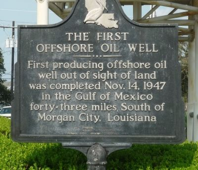 First Offshore Oil Well Marker image. Click for full size.