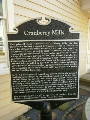Cranberry Mills Marker image. Click for full size.