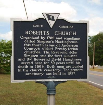 Roberts Church Marker image. Click for full size.
