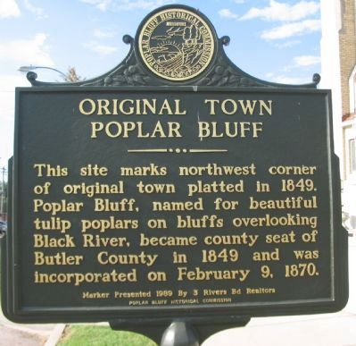 Original Town Poplar Bluff Marker image. Click for full size.
