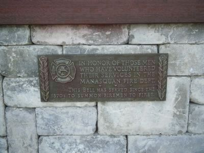 Manasquan Fire Bell Marker located below bell image. Click for full size.