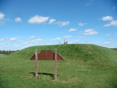 Aztalan Platform Mound Marker and Platform Mound Photo, Click for full size