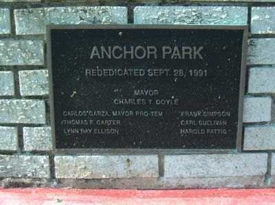 Marker dedicating Anchor Park. image. Click for full size.