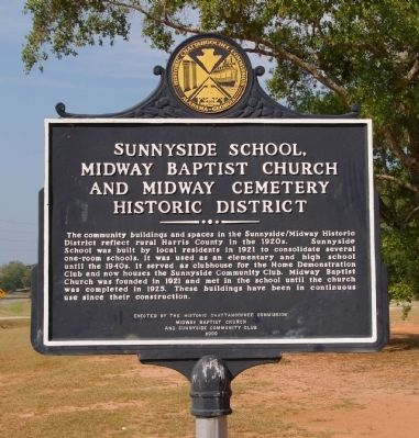 Sunnyside School, Midway Baptist Church and Midway Cemetery Historic District Marker image. Click for full size.