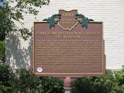 First Congregational Church of Hudson Marker image. Click for full size.