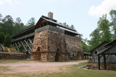 Tannehill Ironworks Furnaces #1, 2, and 3 and blower house on the right. Photo, Click for full size