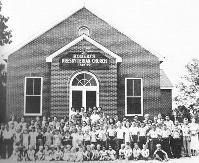 Former Roberts Presbyterian Church Facade with Congregation Photo, Click for full size